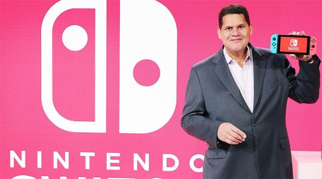 TAKING NAMES: President of Nintendo Of America, Reggie Fils-Aime, holding the Nintendo Switch.
