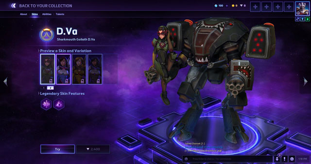 heroes of the storm dva skin