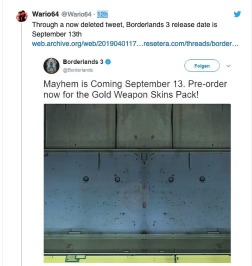 borderlands 3 release date leak